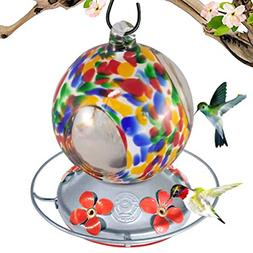 Grateful Gnome - Hummingbird Feeder - Hand Blown Glass - Flo