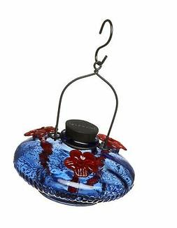 Parasol Bloom Glass Hummingbird Feeder Blue