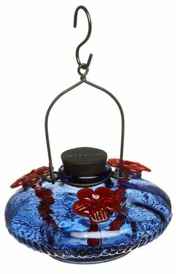 Parasol Bloom Hangigng Glass Multiple Hummingbird Feeder Blu