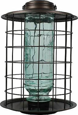 caged songbird vintage feeder pewter