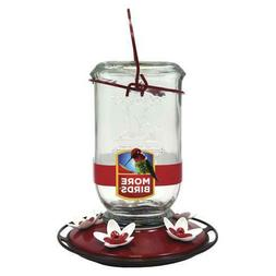 More Birds Clear Mason Jar Hummingbird Feeder, 25 Oz Capacit