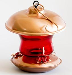 Best Copper & Ruby Glass Hummingbirds Feeder with Beautiful