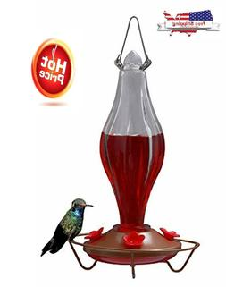 Durable Metal & Bottle Antique Glass Hummingbird Feeder Attr