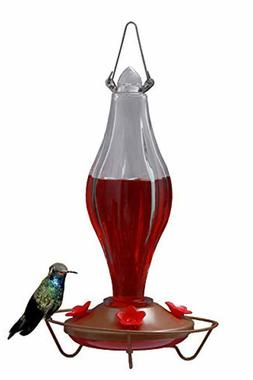 Durable Metal Bottle Antique Glass Hummingbird Feeder Attrac