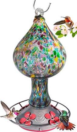 NEW! Hanging Hand Blown Glass AMAZING Hummingbird Feeder - 4