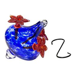 Best Home Products, Blown Glass Hummingbird Feeder, Red Bouq