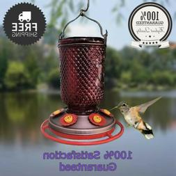 HUMMINGBIRD FEEDER  w/Bee Guards Red Mason Jar Copper Plated