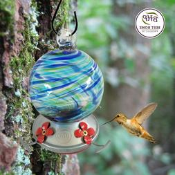 Best Home Products Hummingbird Feeder, Blown Glass, Blue Lag
