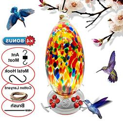 REZIPO Hummingbird Feeder with Perch - Hand Blown Glass - Or