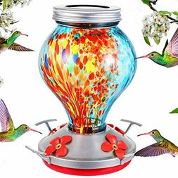 Hummingbird Feeder for Outdoor Hand Blown Glass with Solar L