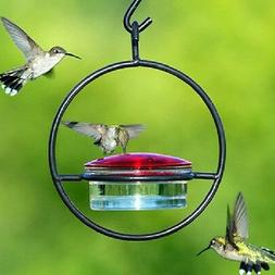 "Hummingbird Feeder Glass and Metal Hanging Sphere 7"" Tall Si"