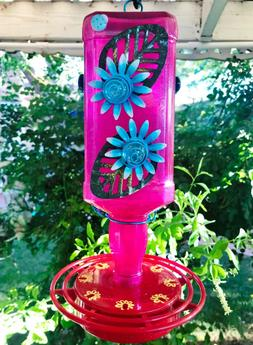 Hummingbird feeder, Glass, Metal Flowers, 32 oz, Bird feeder