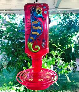 Hummingbird feeder, Glass, Metal Seahorse, 32 oz, Bird feede