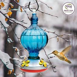 Best Home Products Hummingbird Feeder - BLOWN GLASS, blue -