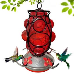 Grateful Gnome - Hummingbird Feeder - Hand Blown Glass - Mor