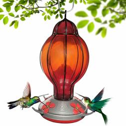 Grateful Gnome -Hummingbird Feeder -Hand Blown Glass -Red La