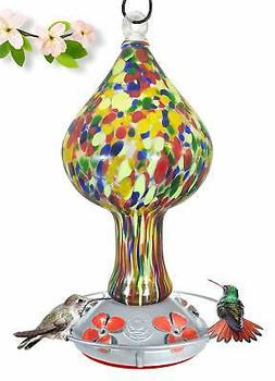 Grateful Gnome - Hummingbird Feeder - Hand Blown Glass - Red