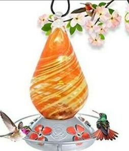 Grateful Gnome Hummingbird Feeder Orange Swirl. Free Shippin