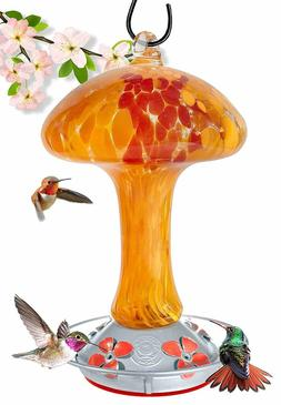 Grateful Gnome - Hummingbird Feeder - Red and Orange Mushroo
