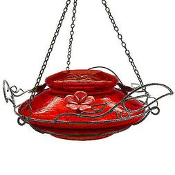 Hummingbird Feeder With Perching Ring, Red Crackle Glass