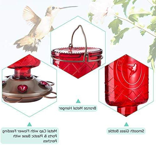 BOLITE 18005 Vintage Red Bottle Hummingbird Feeders for Outdoors, Wild Bird with Nectar Capacity