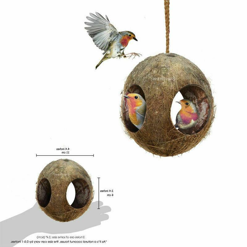3 hole coco bird hut feeder birdhouse