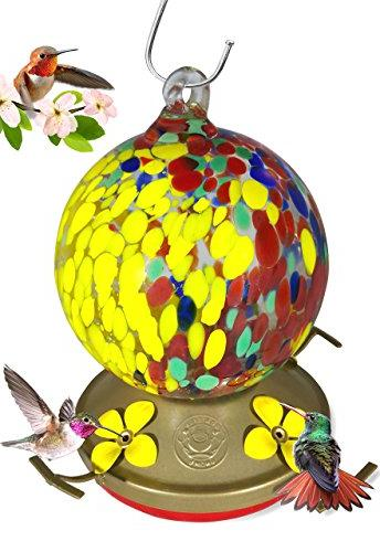 Grateful Gnome - Hummingbird Feeder - Hand Blown Glass - Hal
