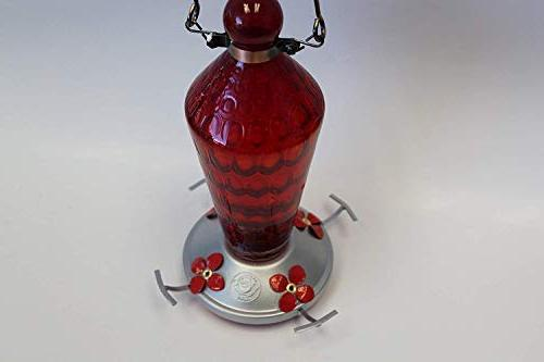 Grateful Feeder - Glass - Red with Metal Hanger - 24