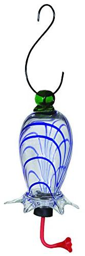 Gardman BA05713 Clear Cylinder Blue Swirl Glass Hummingbird