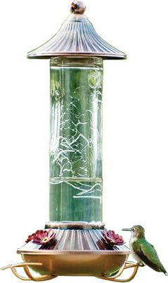 Etched Hummingbird Feeder Color: Bronze/clear. Size: 14 Ounc