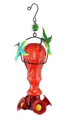 Glass Hummingbird Feeder with Metal Hummingbird Accents by R