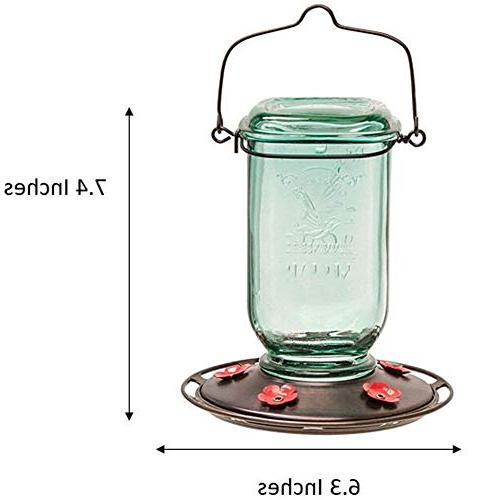 More Birds Glass Hummingbird 5 Feeding Capacity, Mason Jar