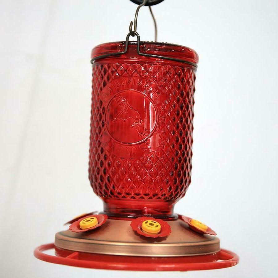 Hummingbird 6 w/Bee Guards Red Mason Jar Copper Plated 32