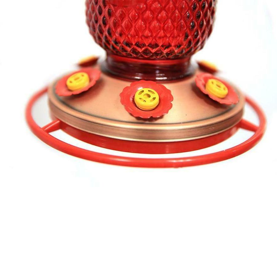 Hummingbird 6 w/Bee Guards Red Jar Copper Base 32