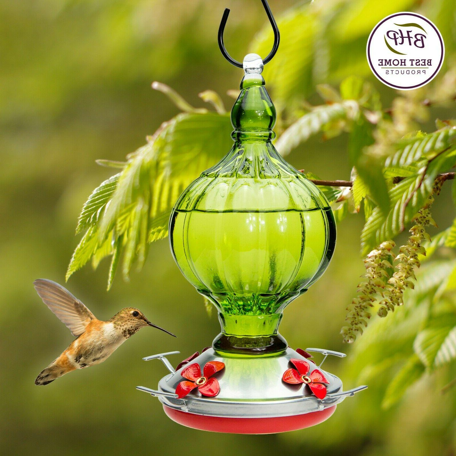 hummingbird feeder blown glass yard garden patio