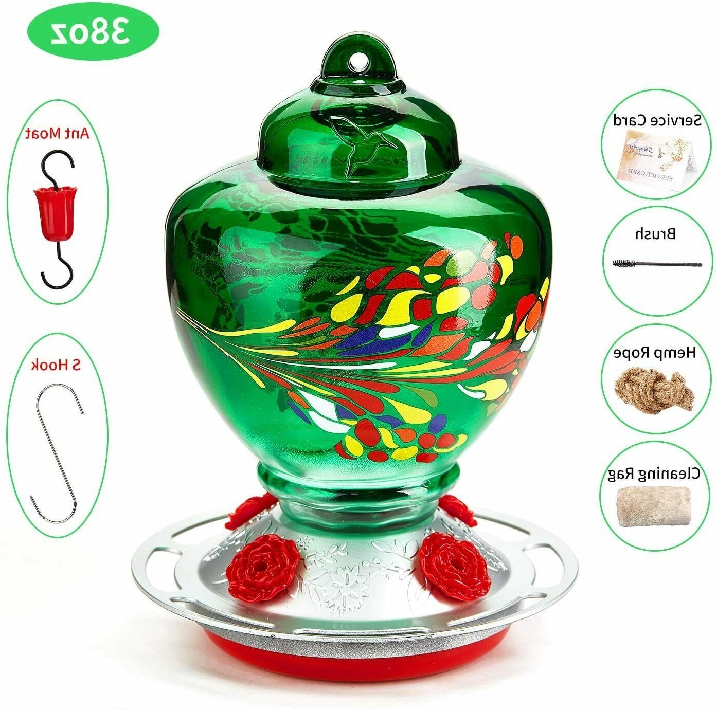 shinyart hummingbird feeder for outdoors 38 ounces