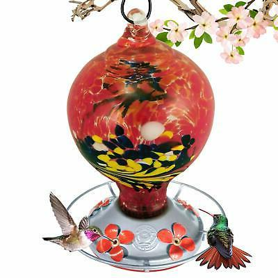 Grateful Gnome Hummingbird Feeder - Hand Blown Glass - Large