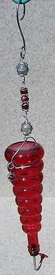 Hummingbird Feeder metal with Red glass bottle NEW