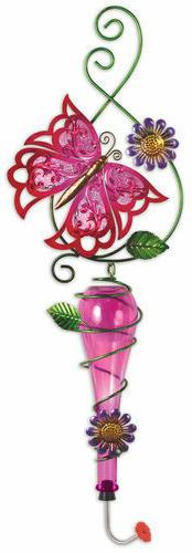 Painted Metal & Glass Pink Butterfly Garden Hanging Hummingb