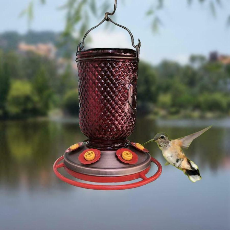 Red Glass Hummingbird Nectar Copper Hanging