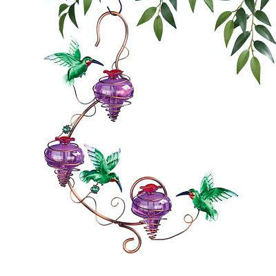 triple purple glass hanging hummingbird feeder by
