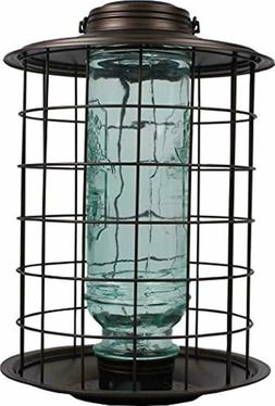 More Birds Caged Vintage Glass Songbird Feeder with Feeding