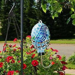 Sunnydaze Mosaic Glass Bluebird Outdoor Hanging Hummingbird