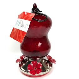 Brand New Red Crackle Glass Humming Bird Feeder