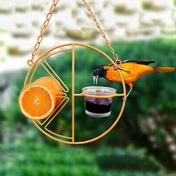 Round Metal Hummingbird Feeder Outdoor Garden Hanging Bird W