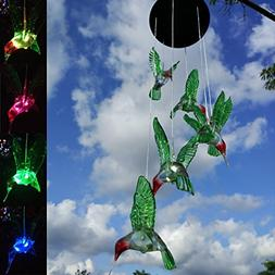 Topspeeder LED Solar Hummingbird Wind Chime, Changing Color