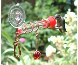 WINDOW WONDER One Tube HUMMINGBIRD Feeder with Red Glass Bea