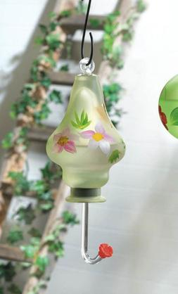 yellow pink HAND BLOWN hand painted flower glass hummingbird